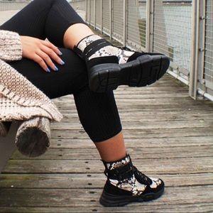 Retro Snake Print Sneaker Combat Boots